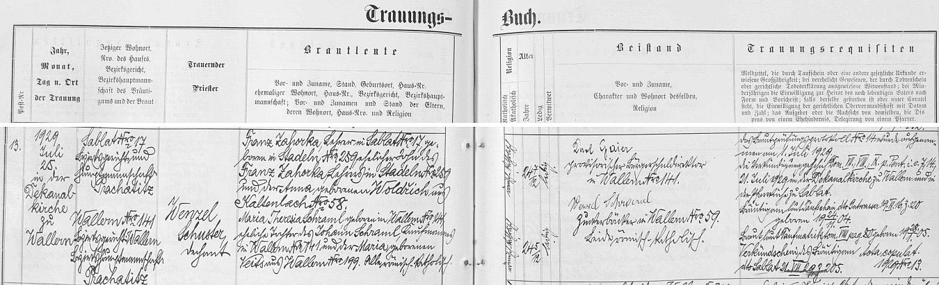Záznam volarské oddací matriky o svatbě rodičů, jimž byl za svědka mj. Karl Gaier