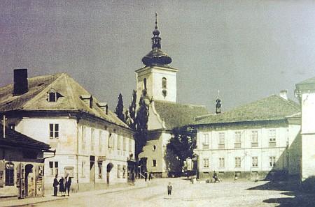 Volary kolem roku 1920, vlevo rodný dům Herwigův čp. 141