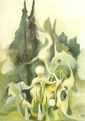 """Obraz z roku 2006 s názvem """"Geisterwald"""", tj. """"Les plný duchů"""""""