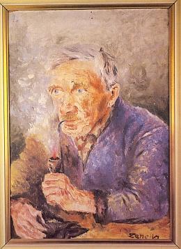Děd Jordan Leirich na vnukově portrétu a jeho hůl