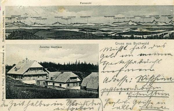 Jiná pohlednice (foto Josef Seidel) z Bučiny i s panoramatem výhledu od Zanellova hostince