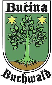 Pomyslný znak  Bučiny, který pro jídelní lístek svého tamního horského hotelu vytvořil už v 21. století jeho majitel František Talián...