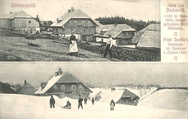 """Do třetice pohlednice Zanellova hostince """"v létě a o Velikonocích 1907"""""""