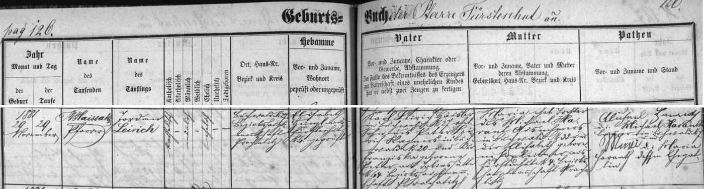 Záznam o narození jeho děda z matčiny strany Jordana Leiricha v Bučině čp. 27, kde byl novorozencův děd Peter Leirich kolářem na čp. 20, jeho žena a babička novorozencova Franziska, roz. Peterová, pocházela pak z Tobiášovy Huti (Tobiashütte) čp. 64