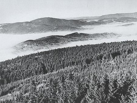 Pohled z rozhledny na Kleti zachycuje Knížecí stolec v moři mlh, za ním Bobík a Boubín