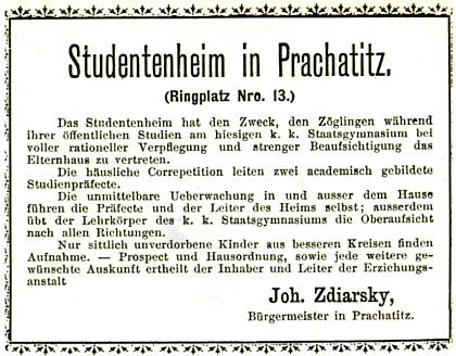 """Reklama studentského domova na adrese """"RingplatzNro.13"""""""