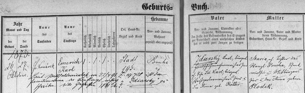 """V českobudějovické matrice je při svém narození roku 1873 psán ještě po otci Zďarsky, přípis z roku 1891 svědčí však o """"pravopisné"""" změně """"podle místodržitelského výnosu"""""""
