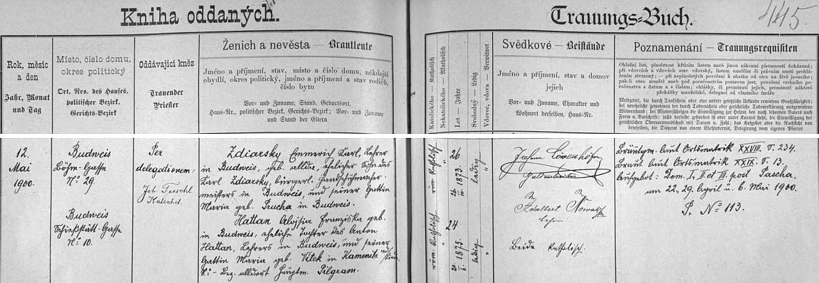 """Záznam z českobudějovické """"Knihy oddaných"""" o jeho svatbě 12. května 1900 s Aloisií Franziskou Hattanovou, dcerou učitele Hattana a jeho ženy Marie, roz. Vítkové z Kamenice nad Lipou"""