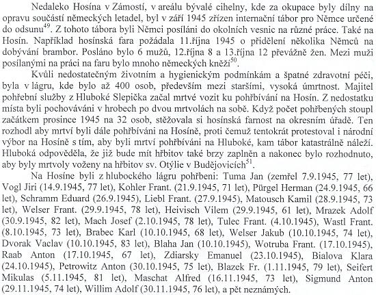 Pasáž ze stati Jana Ciglbauera, zveřejněné ve sborníku Historie severního Českobudějovicka v roce 2010