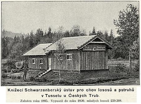 Snímek z knihy k Jubilejní výstavě zachycuje knížecí schwarzenberský ústav pro chov lososů a pstruhů ve Stožci