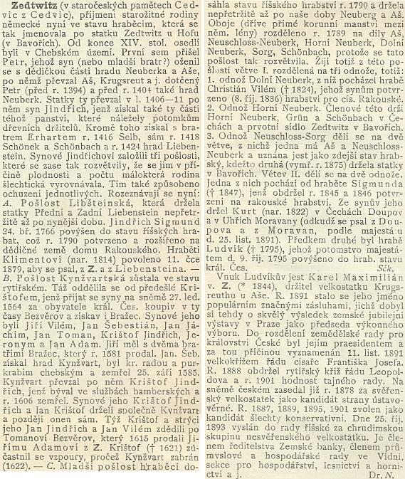 Heslo Zedwitz v Ottově slovníku naučném