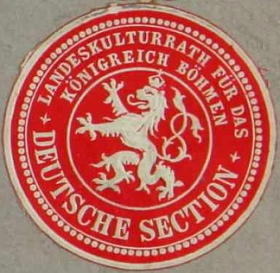 Nálepka německé sekce Zemské kulturní rady, kde byl Zedtwitz delegátem zemědělských sdružení