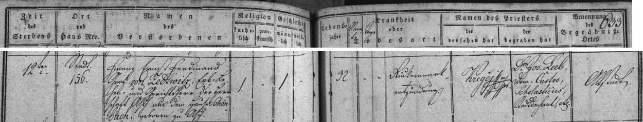 Jeho otec Franz Ernst Ferdinand hrabě von Zedtwitz zemřel v témže domě čp. 156 na rohu českobudějovického náměstí, kde byl jeho syn tři a půl měsíce předtím pokřtěn