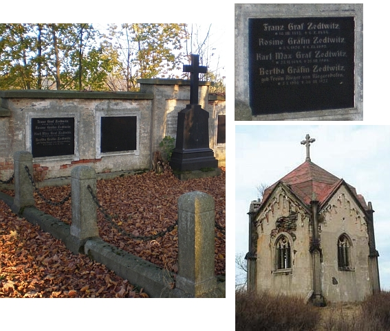 Hrobka v Kopaninách u Aše s jeho jménem a jiná hrobka rodu Zedwitzů v zaniklém Doupově (Duppau)  - kupodivu se zachovala jako jeden z mála pozůstatků města