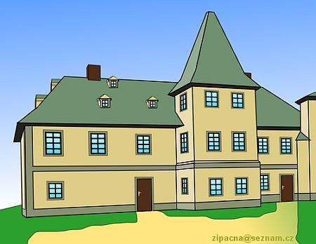 Kopaninský zámek, jak vyhlížel někdy kolem roku 1907...