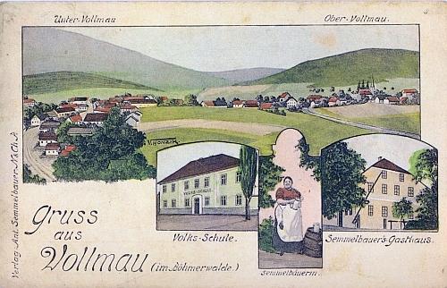 Stará kolorovaná pohlednice Folmavy, vydaná místním hostincem Semmelbauerových, jako autor se tu podepsal V. Honzik