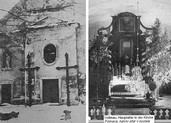 Vchod do kostela v Horní Folmavě a jeho hlavní oltář