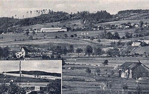 Snímek publikovaný v roce 1961 zakresluje hraniční čáru u Folmavy, patrné v pozadí