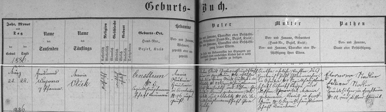 Německý záznam křišťanovské křestní matriky o narození Marie Vlčekové v Arnoštově