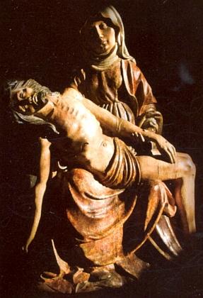 Pieta z Podlesí, dřevěný polychromovaný reliéf Mistra Oplakávání ze Zvíkova z doby kolem roku 1520