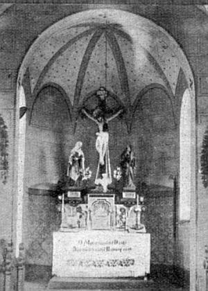Někdejší interiér kaple Hohe Marter nad Frymburkem