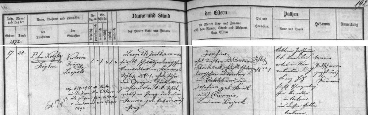 Německy psaný záznam českokrumlovské křestní matriky o zdejším narození syna Viktorina dne 17. května roku1872