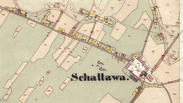 Dvůr v Zátoni na císařském otisku mapy stabilního katastru z roku 1837