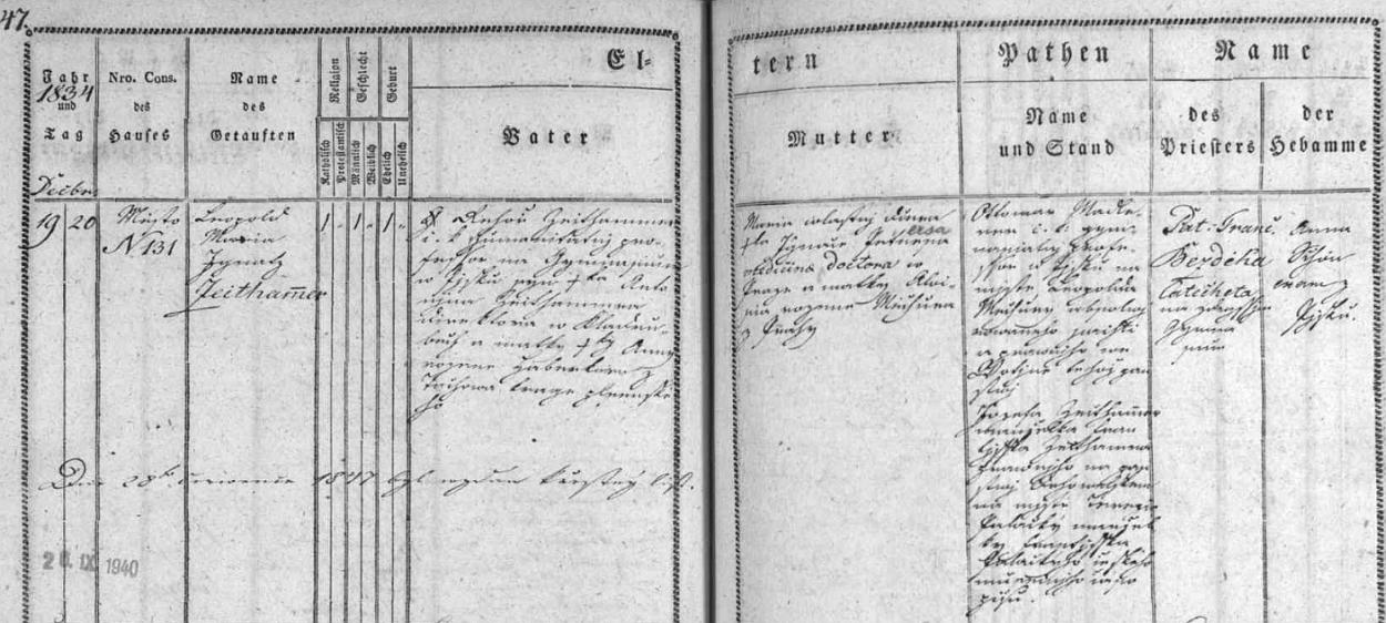 Česky psaný záznam o jeho narození v písecké křestní matrice