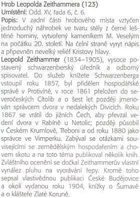 O Leopoldu Zeithammerovi a jeho hrobě vknize Daniela Kováře Budějovické hřbitovy