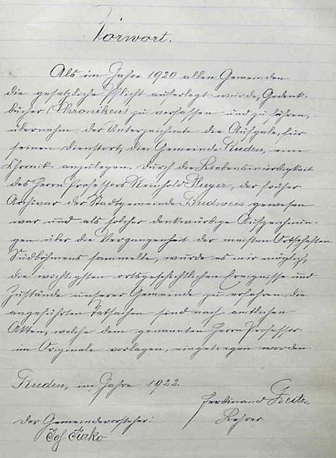 Originál stránky Kroniky obce Roudné s jeho předmluvou