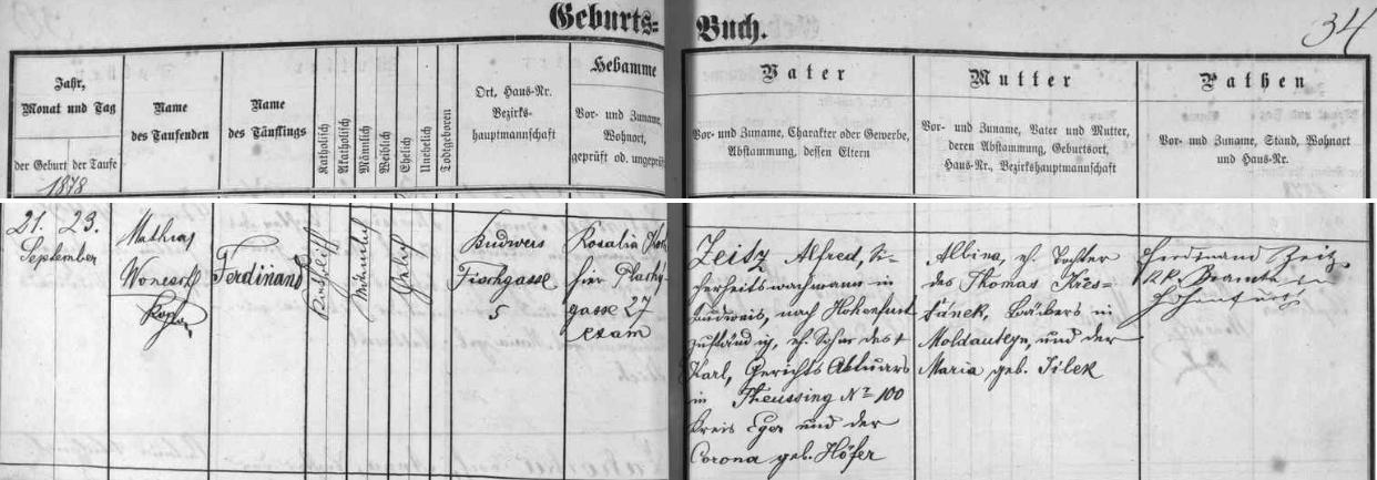Záznam o jeho narození v českobudějovické křestní matrice
