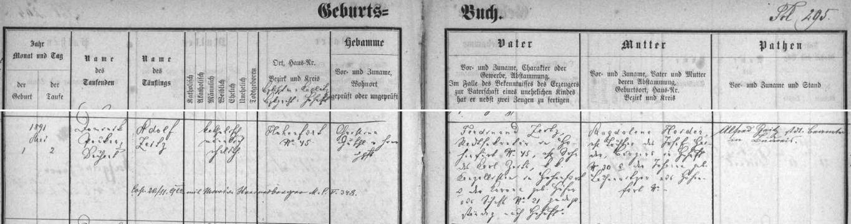 Záznam vyšebrodské křestní matriky o narození jeho bratrance Adolfa Zeitze (s pozdějším přípisem o jeho svatbě), jemuž byl za kmotra Ferdinandův otec Alfred