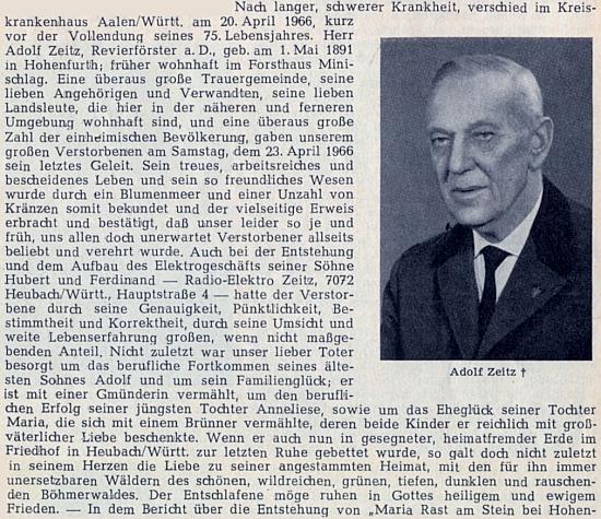Zpráva o úmrtí vyšebrodského lesníka Adolfa Zeitze