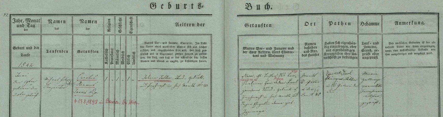 Záznam o jeho narození v křestní matrice dolnorakouského Sankt Peter in der Au