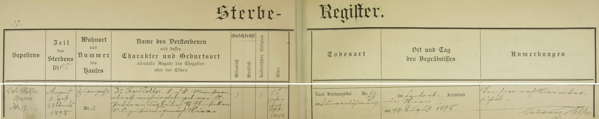 Záznam o jeho úmrtí v knize zemřelých při kostele sv. Heleny v Badenu