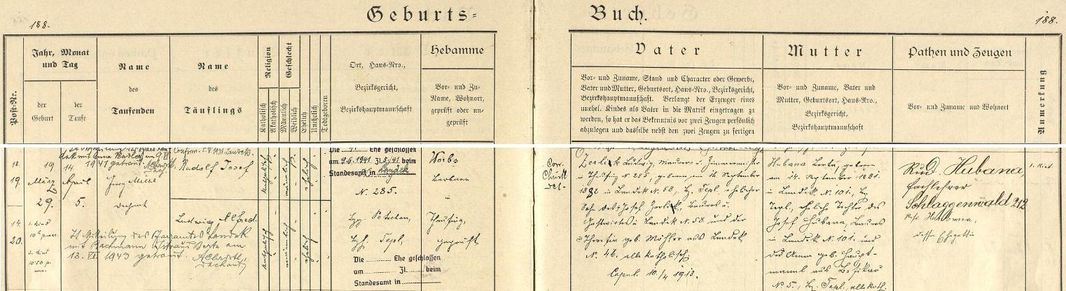 Záznam toužimské křestní matriky o narození dvojčat Rudolfa Josefa a Ludwiga Alfreda s pozdějším přípisem o Alfredově svatbě v Landeku válečného roku 1943