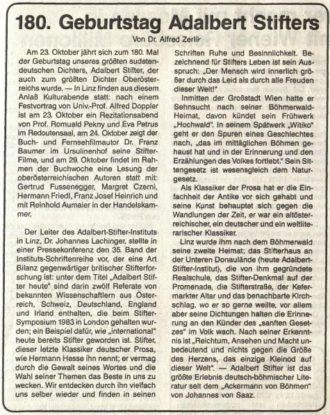 Jeho článek v krajanském listě ke 180 výročí narození Adalberta Stiftera