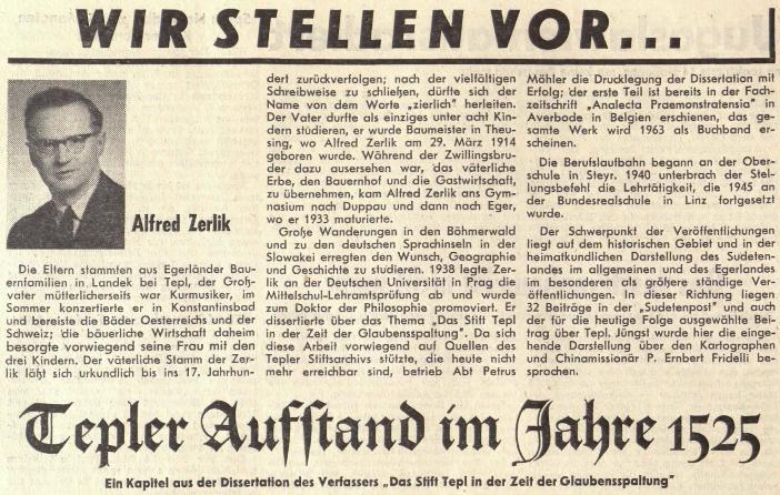 O něm v úvodu jeho textu na stránkách listu rakouského krajanského sdružení