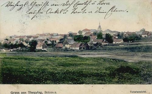 Rodná Toužim na pohlednici z doby jeho narození.