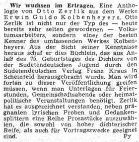 Recenze jeho antologie z díla Erwina Guido Kolbenheyera se objevila v březnu 1954 na stránkách ústředního listu vyhnaných krajanů