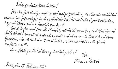"""Poděkování Dr. Aloisu Großschopfovi za článek k pětasedmdesátinám Zerzerovým, který vyšel v """"Mühlviertler Heimatblätter"""""""