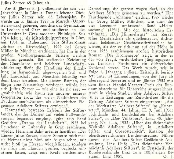 Otto Jungmair (1889-1974) je tu podepsán iniciálami svého jména pod připomínkou Zerzerových pětašedesátin