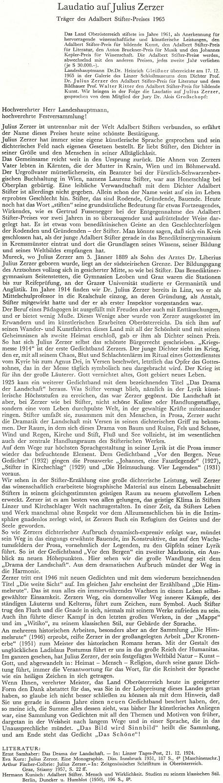 Laudatio, které pronesl Alois Großschopf při udělení Ceny Adalberta Stiftera Juliu Zerzerovi 17. prosince 1965 v galerii lineckého zámeckého muzea