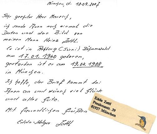 Dopis paní Zettlové s odpovědí a správným směrovacím číslem na její adrese