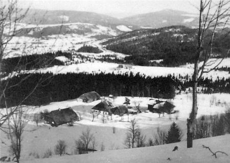 Snímek někdejší vsi Zelená Hora