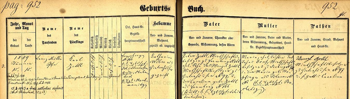 """O tom, že Zettlů bylo na Šumavě věru habaděj, svědčí i tento záznam v křestní matrice farní obce Prášily o narození Karla Zettla, pozdějšího prášilského řídícího učitele (v roce 1943 se odřekl katolické víry a dva roky nato byl ubit Čechy), v rodině majitele hospodářství ve Formbergu čp. 166 (dvorec zvaný """"Peterlhof"""" je popsán v textové ukázce) Petera Zettla a jeho choti Caroliny, roz. rovněž Zettlové, do jejíhož rodného stavení se přiženil - jako kmotr se podepsal Wenzl Zettl ze Zadních Chalup čp. 97, novorozencův děd z otcovy strany, a jeho žena Carolina"""