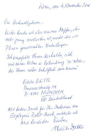 """Dopis Dr. Waltera Zettla odkazující k informaci o svém """"synovci, který zemřel velmi mlád"""", na adresu jeho vdovy v Mnichově"""