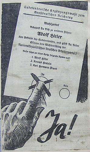 """Tak vyhlížela nacistická propaganda k""""sudetoněmeckým doplňovacím volbám do Velkoněmeckého říšského sněmu"""", konaným vprosinci 1938 v """"připojených"""" územích"""