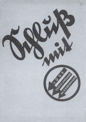 """Heslo """"Skoncovat s německou sociální demokracií"""" na propagandistickém materiáluSudetendeutsche Partei z roku 1935"""