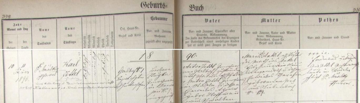 Podle tohoto zánamu křestní matriky farní obce Javorná se narodil 10. ledna 1890 na Gerlově Dvoře čp. 1 tamnímu podruhovi Antonu Zettelovi (byl synem podruha ve Stodůlkách /Stadeln/ Antona Zettela a Agnes, roz. Hoffmannové z Vlastějova /Schwalben/), příslušnému do Stodůlek (Stadeln), a jeho ženě Marii, dceři Matthiase Ankela, dřevorubce z Nové Dlouhé Vsi (Neulangendorf) a Theresie, roz. Geisové z Prášil (Stubenbach). Chlapcovými kmotry byli Ferdinand a Magdalena Zettelovi, hostinští ze Stodůlek a pozdější přípis nás ještě zpravuje o tom, že Karl Zettl podle sdělení okresního úřadu v Klatovech vystoupil v roce 1921 z církve a je tak osobou bez vyznání (konfessionslos)